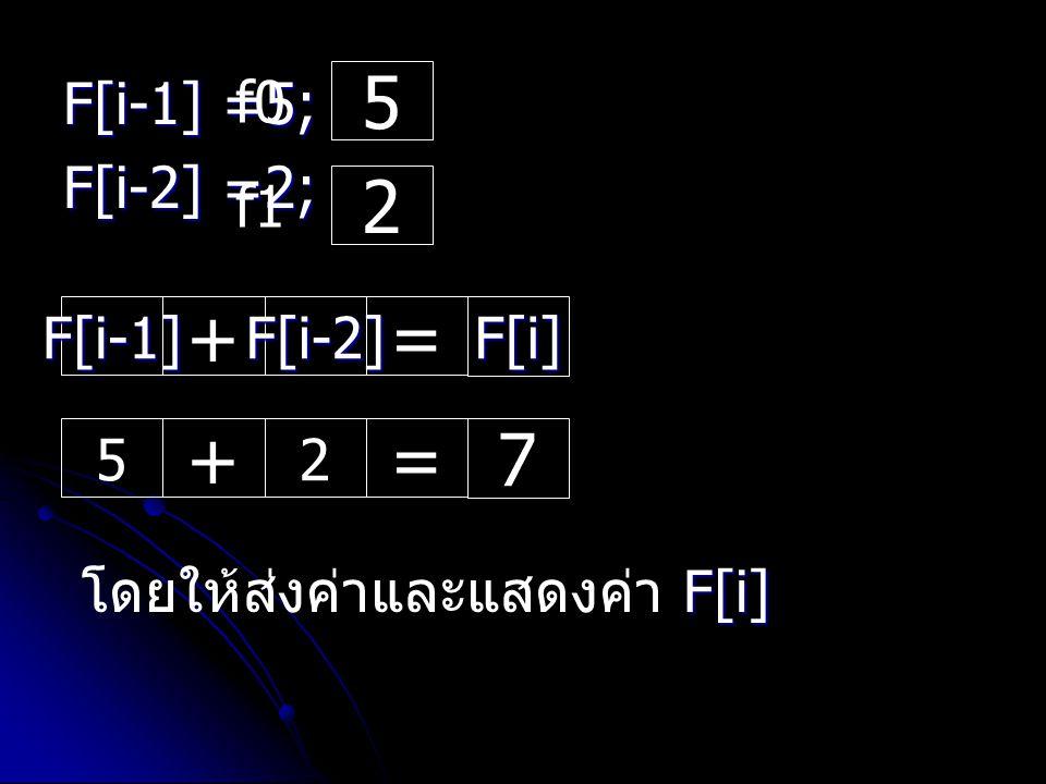 5 2 + = + = 7 F[i-1] =5; F[i-2] =2; f0 f1 F[i-1] F[i-2] F[i] 5 2